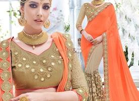 Faciable Orange And Beige Embroidered Georgette Latest Half Sari