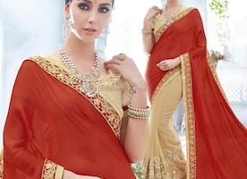 Magnetic Red And Beige Embroidered Chiffon And Lycra Half Sari Design