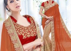 Appealing Orange And Peach Embroidered Chiffon And Net Half Sari