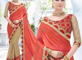 Pleasing Orange And Beige Embroidered Chiffon And Georgette Half And Half Sari