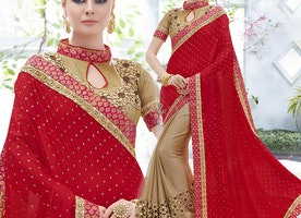 Decent Red And Beige Embroidered Satin And Chiffon Half Saree Design