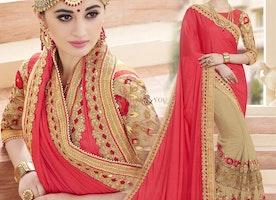 Divine Red And Beige Embroidered Art Silk And Georgette Half Saree Design