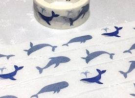 happy blue whale washi tape 7M x 2cm marine Largest fish Blue fish big fish masking tape wide tape deep blue sea fish sticker tape scrapbook