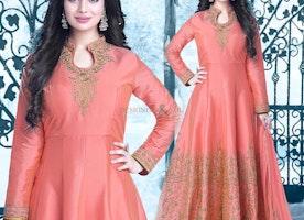 Ephemeral Peach Art Silk Embroidered Bollywood Gown Dress