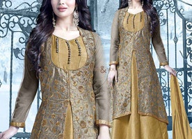 Charming Mustard Art Silk Embroidered Ayesha Takia Celebrity Dress