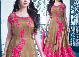 Appealing Beige And Pink Georgette Embroidered Bollywood Ayesha Takia Starrer