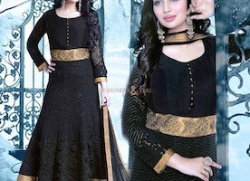 Lovely Black Georgette Embroidered Celebrity Dress Ayesha Takia