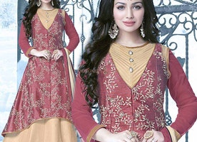 Good Looking Beige And Peach Art Silk Embroidered Indian Celebrity Dress