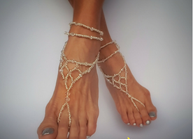 Wedding Bare Sandals, Bridal barefoot sandals, Foot jewelry, Wedding sandals, Footless sandals, Slave anklet, Beach barefoot sandals,  Wedding sandals, Silver and crystal bare sandals, Beach wedding shoes
