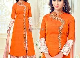 Gorgeous Orange Art Silk Embroidered Celebrity Krystle D'Souza Dress