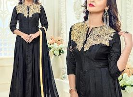 Ineffable Black Art Silk Embroidered Celebrity Dress Online