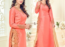 Ravishing Peach Art Silk Embroidered Bollywood Suit By Krystle D'Souza