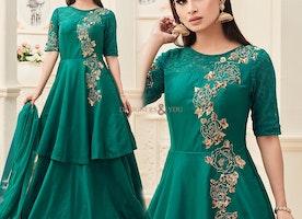 Engaging Green Art Silk Embroidered Celebrity Designer Suit