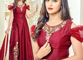 Attractive Maroon Art Silk Embroidered Bollywood Dress By Krystle D'Souza