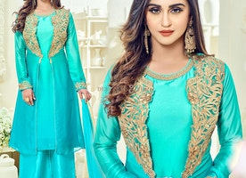 Beautiful Sky Blue Art Silk Embroidered Bollywood Heroine Suit