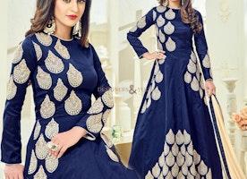 Divine Blue Art Silk Embroidered Celebrity Dress Online