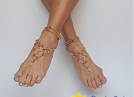 Gold wedding shoes, Bridal barefoot sandals, Foot jewelry, Wedding sandals, Footless sandals, Slave anklet, Beach barefoot sandals,  Wedding sandals, Handmade Gold beads and crystal bare sandals, Beach wedding shoes