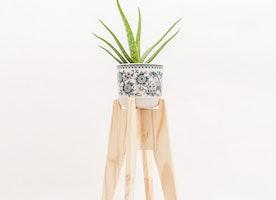 Modern natural handmade wooden planter stand