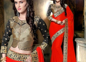 Fascinating Orange Georgette Embroidered Stylish Saree For Party With Blouse