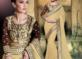 Captivating Cream Georgette Embroidered New Style Sari With Blouse