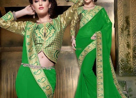 Enchanting Green Georgette Embroidered New Style Saree With Blouse