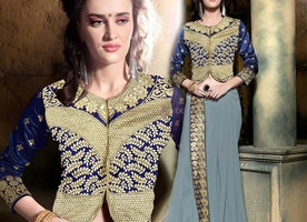 Magnetic Grey Georgette Embroidered Party Wear Sari With Blouse