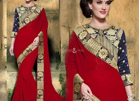 Likeable Red Georgette Embroidered Latest Party Saree
