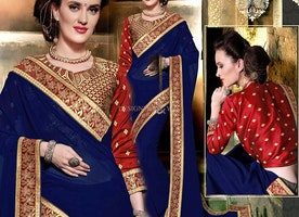 Striking Blue Georgette Embroidered Stylish Saree For Party