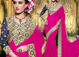 Prepossessing Pink Georgette Embroidered Party Wear Saree With Blouse