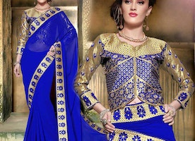 Comely Blue Georgette Embroidered Latest Party Saree With Blouse