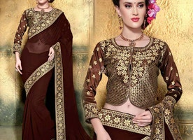Nice Brown Georgette Embroidered Trendy Sari With Blouse