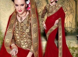 Smashing Red Georgette Embroidered Trendy Saree With Blouse
