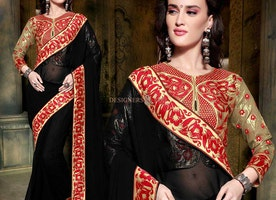 Divine Black Georgette Embroidered Party Sari Online
