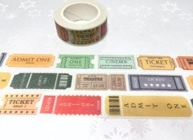 vintage ticket washi tape 7M cinema theatre tickets label postage stamp sticker tape admit one retro cinema decor classic movie decor gift