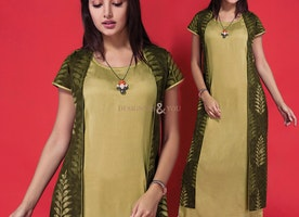 Artistic Green Printed Contemporary Cotton Kurti Neck Design