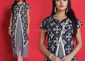 Irresistible Grey And Black Printed Contemporary Stylish Cotton Kurti