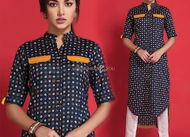 Heavenly Blue Printed Contemporary Cotton Kurti Online