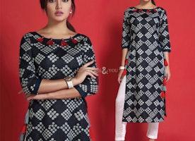 Decent Black Printed Contemporary Cotton Kurti Design