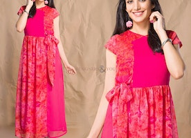 Pretty Pink Contemporary Printed Georgette Kurti Online Shopping