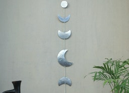 Silver boho moon phases wall hanging