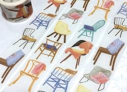 chair washi tape 5M x 3cm design chair cool chair theme wide masking tape comfy chair sofa tailor made chair custom made handmade chair deco