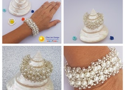 Bridal pearl bracelet, Bridal pearl and silver bracelet, Wedding jewelry, Beach wedding jewelry, Bridal fashion jewelry, Bridal interlaced pearl bracelet, Handmade Bridal bracelet