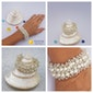 Bridal pearl bracelet, Bridal pearl and silver bracelet, Wedding jewelry, Beach wedding jewelry, Bridal fashion jewelry, Bridal interlaced pearl bracelet, Handmade Bridal bracelet