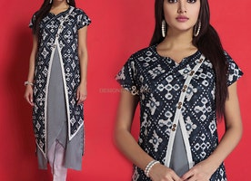 Irresistible Grey And Black Printed Contemporary Stylish Cotton Kurti