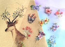 blossom flower sticker colorful flower theme wide flower season florist flower set seal sticker gardening planner sticker flower theme decor