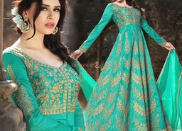 Ravishing Green Silk Embroidered Anarkali Gown Suit Style