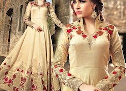 Engaging Beige Silk Embroidered Indian Anarkali For Ladies