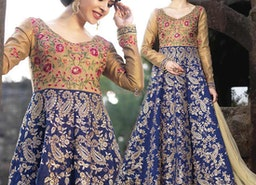 Stylish Beige And Blue Silk Embroidered Fancy Anarkali Dress