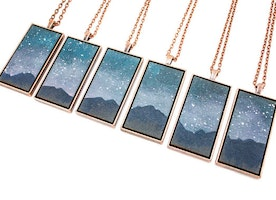 "Landscape painting pendant: ""The Mountains at Night"""