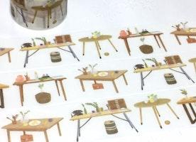 wooden desk washi tape 5M x 3cm designer desk cool table desk wide tape masking tape tailor made tea table homemade furniture theme decor